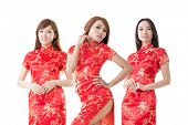 image of traditional dress  - Group of Chinese women dress traditional cheongsam at New Year - JPG