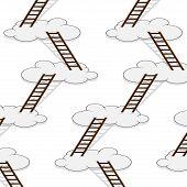 stock photo of stairway  - Stairway to clouds seamless pattern - JPG