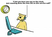 stock photo of rep  - Business cartoon of customer service cat who is watching the clock on the service call - JPG