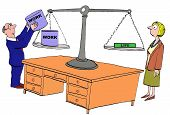 picture of scale  - Business cartoon of scale and boss is loading up the scale with  - JPG
