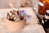stock photo of roughage  - Old book with dry flowers in mortar and bottles on table close up - JPG