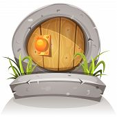 picture of  midget elves  - Illustration of a cartoon comic hobbit or dwarf like funny little rounded wood door with stone doorframe for fantasy ui game - JPG