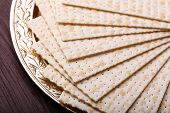 pic of matzah  - Matzo for Passover on metal tray on table close up - JPG