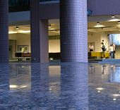 image of stone floor  - -- with massive columns and polished stone floors - JPG