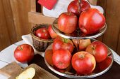 pic of serving tray  - Tasty ripe apples on serving tray on table close up - JPG