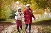 pic of granddaughter  - Grandmother Running Along Autumn Path With Granddaughter - JPG