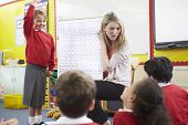 stock photo of math  - Teacher Teaching Maths To Elementary School Pupils - JPG