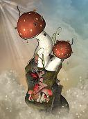 image of magical-mushroom  - Fantasy landscape in the sky with mushroom - JPG