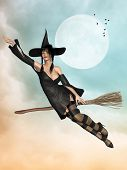 image of broom  - witch in a broom flying in the sky - JPG