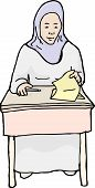 picture of quiz  - Single hand drawn cartoon of grinning Muslim student with quiz - JPG