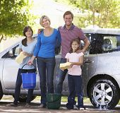 picture of car carrier  - Family Washing Car Together - JPG