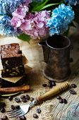 pic of hydrangea  - Home made brownies on vintage plate with vintage silverware and hydrangea flowers - JPG