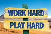 picture of hard-on  - Work Hard Play Hard sign with desert background - JPG