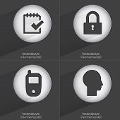 stock photo of tasks  - Task completed Lock Mobile phone Silhouette icon sign - JPG
