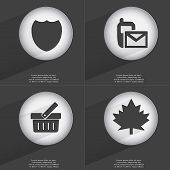 picture of sms  - Badge SMS Basket Maple leaf icon sign - JPG