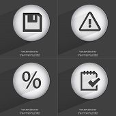 foto of tasks  - Floppy disk Warning Percent Task completed icon sign - JPG