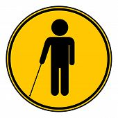 foto of blind man  - Blind disabled button on white background - JPG
