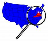 picture of united states map  - Virginia state outline set into a map of The United States of America below a magnifying glass - JPG