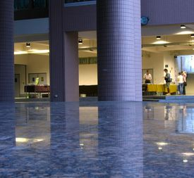 stock photo of stone floor  - -- with massive columns and polished stone floors - JPG