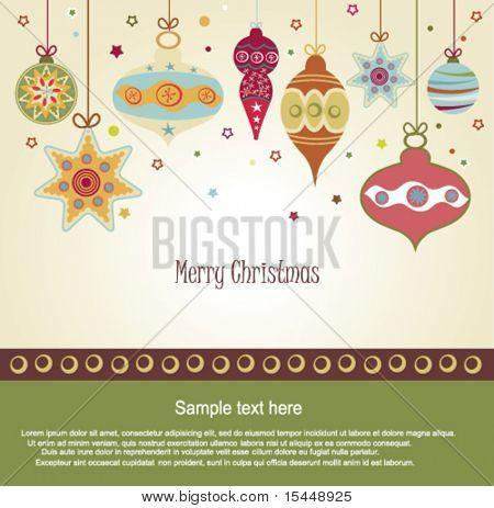 Постер, плакат: Ретро рождественские украшения, холст на подрамнике
