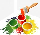 image of paint brush  - Paints and brush - JPG