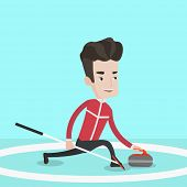 Постер, плакат: Curling player playing curling on a curling rink Sportsman with stone and broom Curling player del