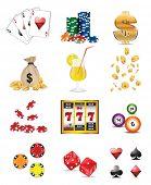 stock photo of poker machine  - Casino and gambling icons - JPG