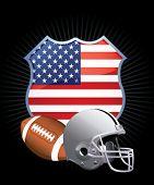 Постер, плакат: футбольный шлем и мяч