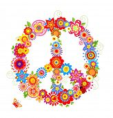 Abstract peace flower symbol poster