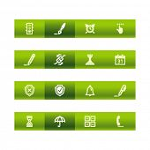 Green bar software icons. Vector file has layers, all icons in two versions are included.