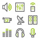 Media web icons, green and gray contour series