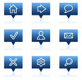 Basic web icons, blue speech bubbles sticker series