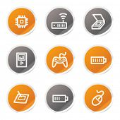 Electronics web icons set 2, orange and grey stickers
