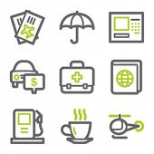 Travel web icons set 4, green and gray contour series