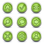 Basic web icons, green glossy set