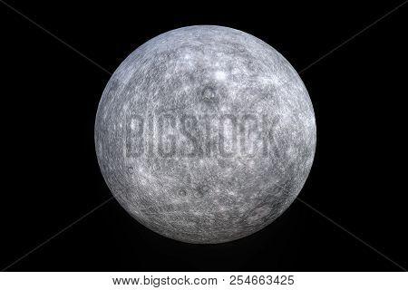 Mercury Planet On Black Background