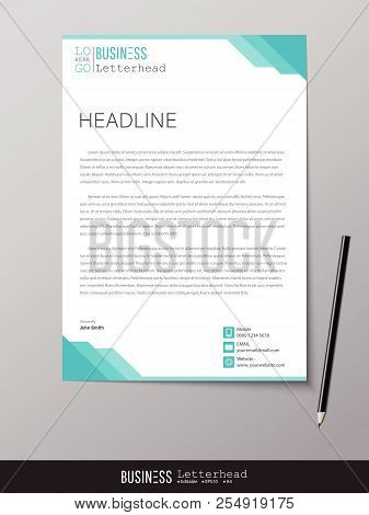 poster of Letterhead Design Template And Mockup Minimalist Style Vector. Design For Business Or Letter Layout,