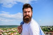 Man Bearded Hipster Formal Style Look Back Sky Background. Guy Reached Top But Feel Frustrated. Moti poster