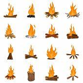 Bonfire Night Fire Icons Set. Flat Illustration Of 16 Bonfire Night Fire Icons Isolated On White poster