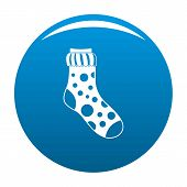 Spotted Sock Icon. Simple Illustration Of Spotted Sock Icon For Any Design Blue poster