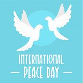 Two Pigeons Peace Day Background. Flat Illustration Of Two Pigeons Peace Day Vector Background For W poster