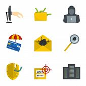 Secret Password Icons Set. Cartoon Set Of 9 Secret Password Vector Icons For Web Isolated On White B poster