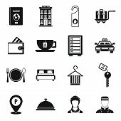 Hotel Icons Set In Simple Style. Hotel Accommodation Services Set Collection Illustration poster