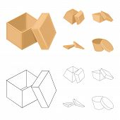 Case, Shell, Framework, And Other Web Icon In Cartoon, Outline Style.box, Container, Package, Icons  poster