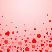 Heart Confetti Of Valentines Petals Falling On Transparent Background.flower Petal In Shape Of Heart poster