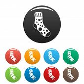 Spotted Sock Icon. Simple Illustration Of Spotted Sock Icons Set Color Isolated On White poster