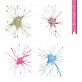 Set Of Watercolor Handdrawn Blots. Colorful Ink Drops. Vector Illustration poster