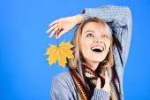 Autumn. Autumn Mood. Autumn Leaves. Nature. Smiling Woman With Maple Leaf. Yellow Maple Leaf. Excite poster