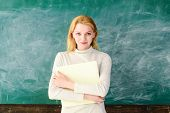 Back To School. Education. School. Job. Teacher In Classroom. Teacher With Folder. Female Teacher Wi poster