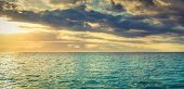 Seaview at sunset. Amazing landscape. Mauritius panorama.  poster